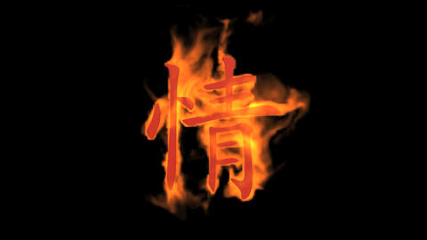 "burning Chinese character ""qing"",fire love text Animation"