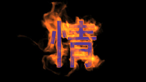 "burning Chinese character ""qing"",fire love text Stock Video Footage"