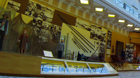 The hall of Ethnography Museum in St. Petersburg Stock Video Footage