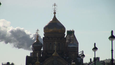 The Smoke And The Dome Of The Temple stock footage