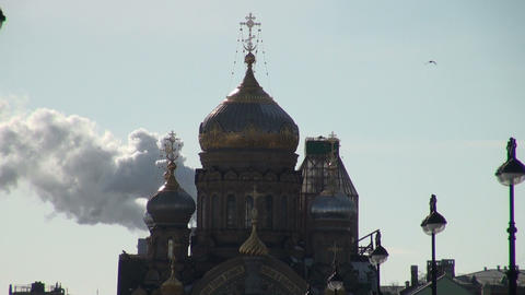 The smoke and the dome of the temple Stock Video Footage