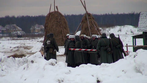 German soldiers in the war at Leningrad Stock Video Footage