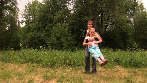 mom daughter, rotation Stock Video Footage