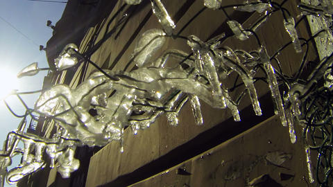 Thawing icicle Stock Video Footage