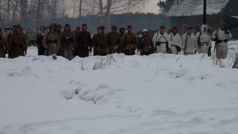 The soldiers marched go through the woods Footage