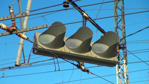 Faulty traffic Light hanging on a wire Stock Video Footage