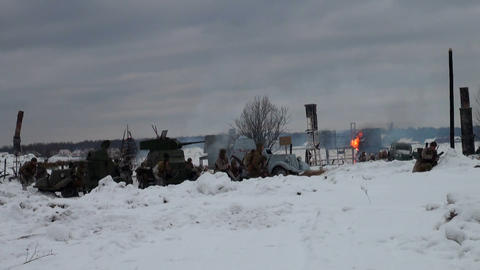 Soviet soldiers in the war at Leningrad Stock Video Footage