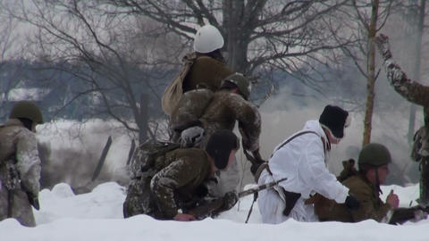 The Soviet soldiers in the war at Leningrad Stock Video Footage
