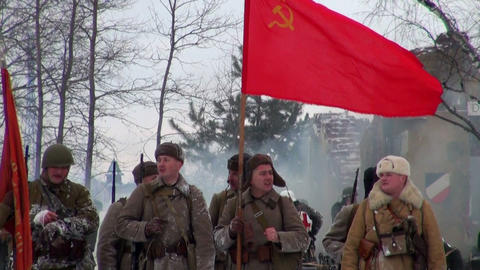 Attack with the red flag Stock Video Footage
