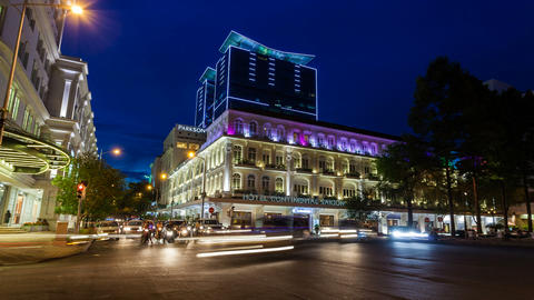 1080 - TIMELAPSE - SAIGON HOTEL CONTINENTAL AT NIG Stock Video Footage