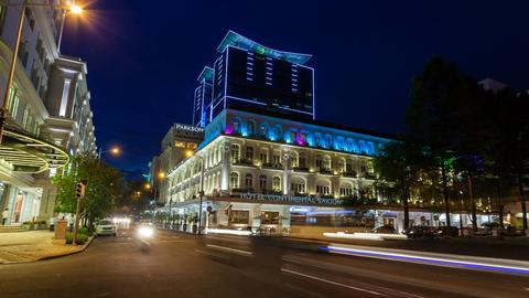 1080 - TIMELAPSE - SAIGON HOTEL CONTINENTAL AT NIG Stock Video Footage