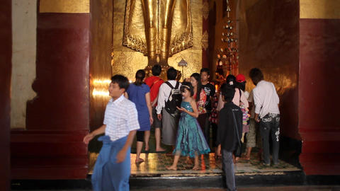 Visitors inside pagoda in Bagan Footage