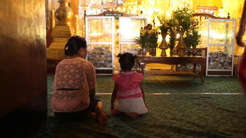 Visitors inside pagoda in Bagan Footage