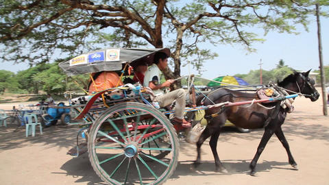 Cart near pagoda in Bagan Stock Video Footage