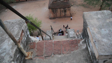Ladder on temple exterior Footage