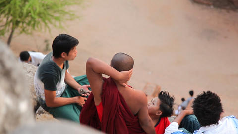 Monk on Bagan temple Stock Video Footage