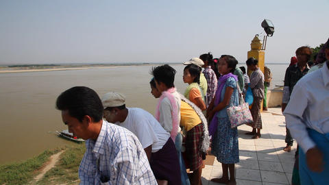 Activity near Buphaya Pagoda on Irrawaddy River Footage