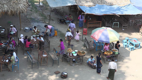 Cafe near Buphaya Pagoda on Irrawaddy River Stock Video Footage