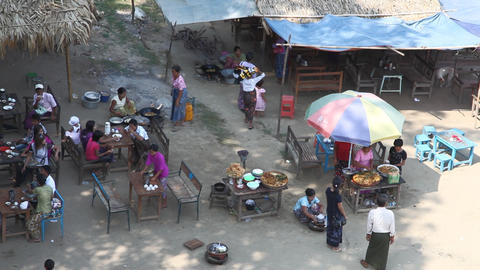 Cafe near Buphaya Pagoda on Irrawaddy River Footage