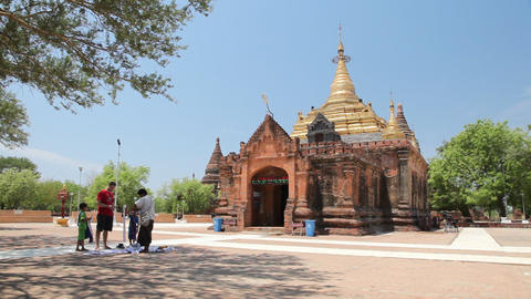 Souvenir sellers at temple in Bagan Stock Video Footage