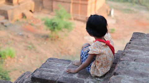 Young souvenir seller in temple in Bagan Footage