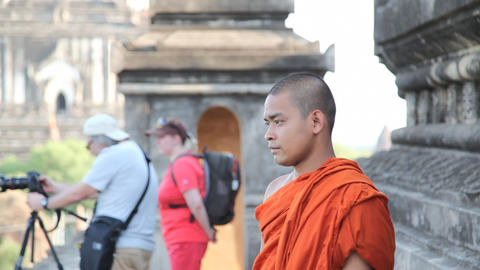 Monk in pagoda in Bagan Stock Video Footage