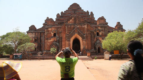 Visitors in Bagan temple Footage