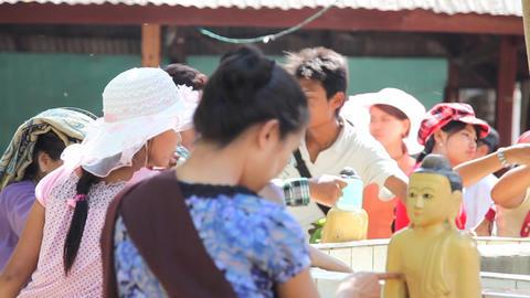 Visitors in Bagan temple Footage