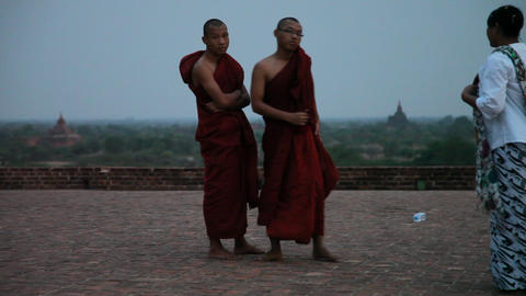 Monks in Bagan temple Footage