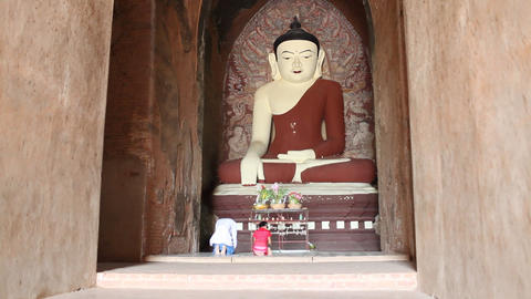 Visitors inside pagoda in Bagan Stock Video Footage