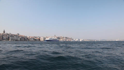 Ships in the Golden Horn Bay Stock Video Footage