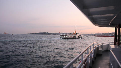 Travel along Bosphorus during sunset time Stock Video Footage
