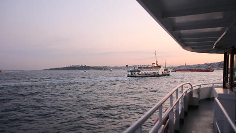 Travel along Bosphorus during sunset time Footage