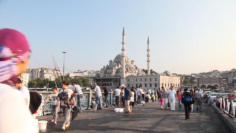 People Walking On Galata Bridge stock footage