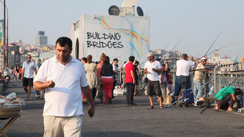 People walking on Galata bridge Stock Video Footage