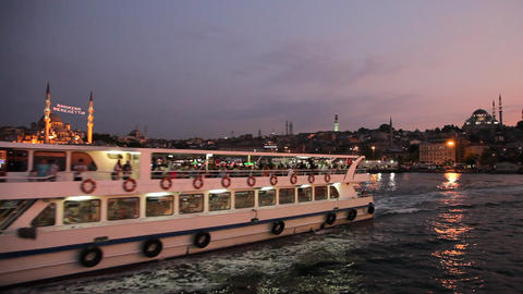 Travel along Golden Horn bay Stock Video Footage