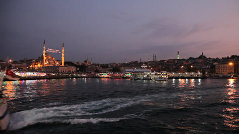 Travel along Golden Horn bay Footage