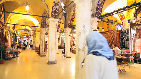 Grand bazaar interior panorama Footage