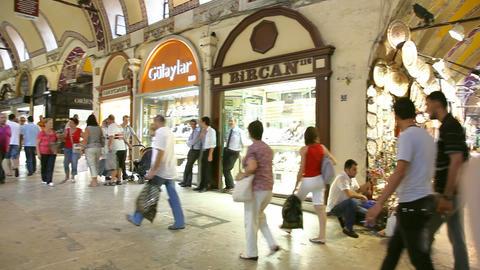 Grand bazaar interior panorama Stock Video Footage