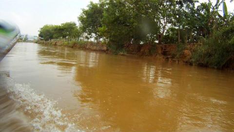 Children splash the boat , Myanmar Stock Video Footage