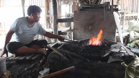 Blacksmith's shop on Inle lake Stock Video Footage