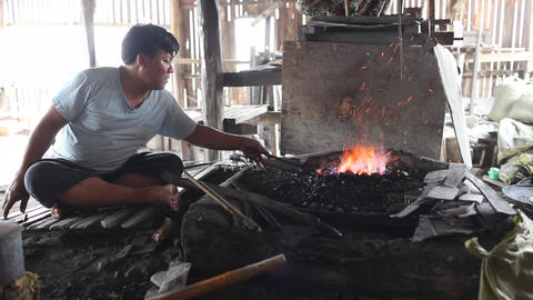 Blacksmith's shop on Inle lake Footage
