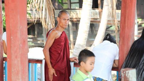Monk in Nga Phe Kyaung Monastery Stock Video Footage