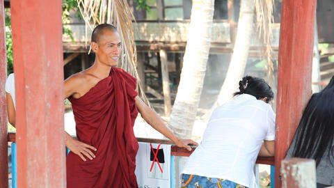 Monk in Nga Phe Kyaung Monastery Footage
