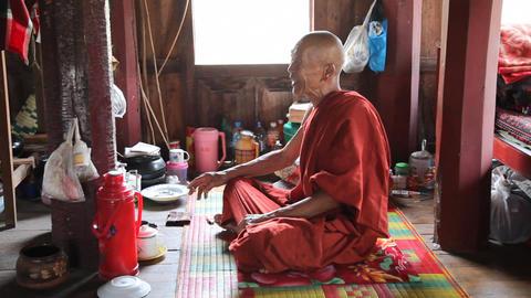 Monk inside Monastery Footage