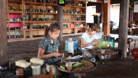 Cigarettes workshop on Inle lake Stock Video Footage