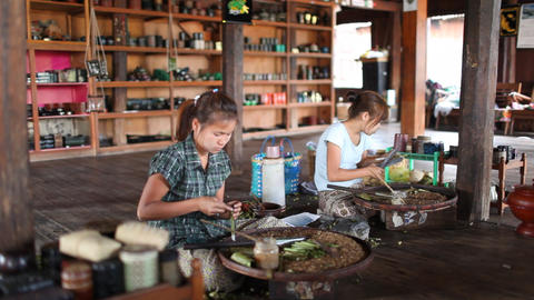 Cigarettes workshop on Inle lake Footage