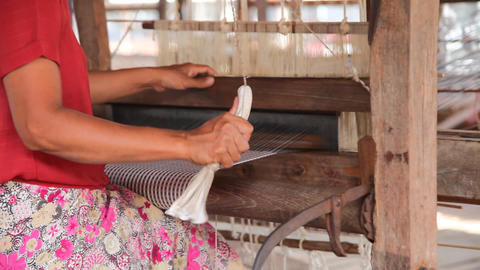 Weaving workshop on Inle lake Stock Video Footage