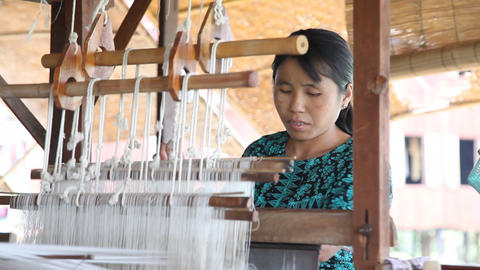 Weaving Workshop On Inle Lake stock footage