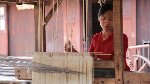 Weaving workshop on Inle lake Stock Video Footage